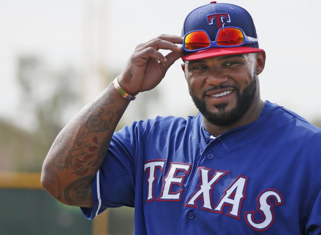 1135479 bytes; 2587 x 1896; New Rangers first baseman Prince Fielder is pictured at his first workout with the team Texas Ranger