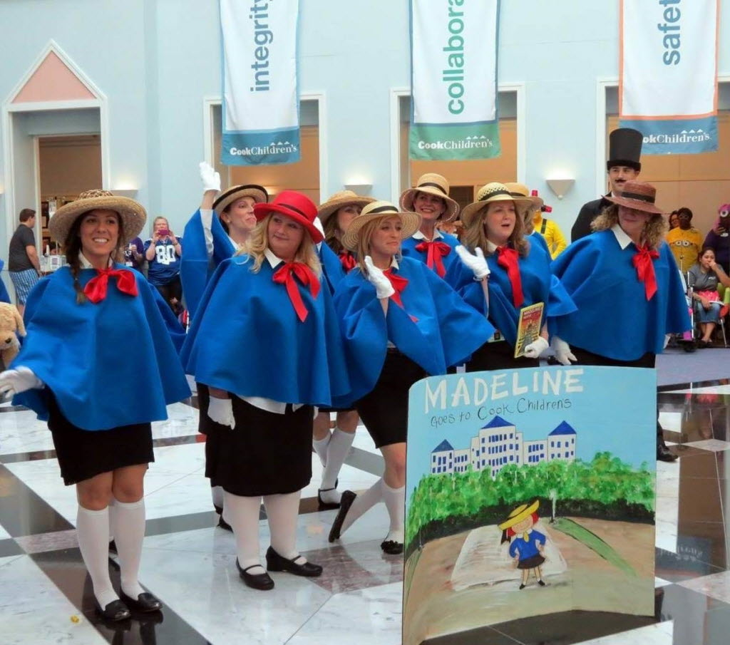 Employees dressed as Madeline competed in Cook Children's Halloween costume and skit contest. (Cook Children's)