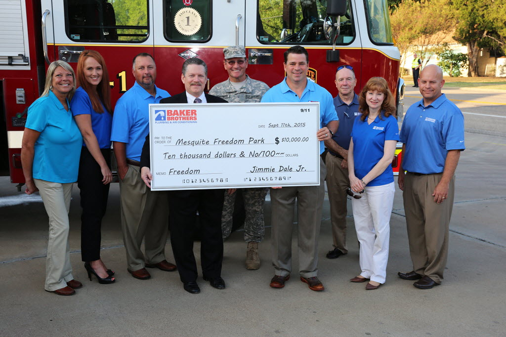 Baker Brothers Plumbing & Air donated $10,000 to Mesquite Freedom Park in September. (Baker Brothers)