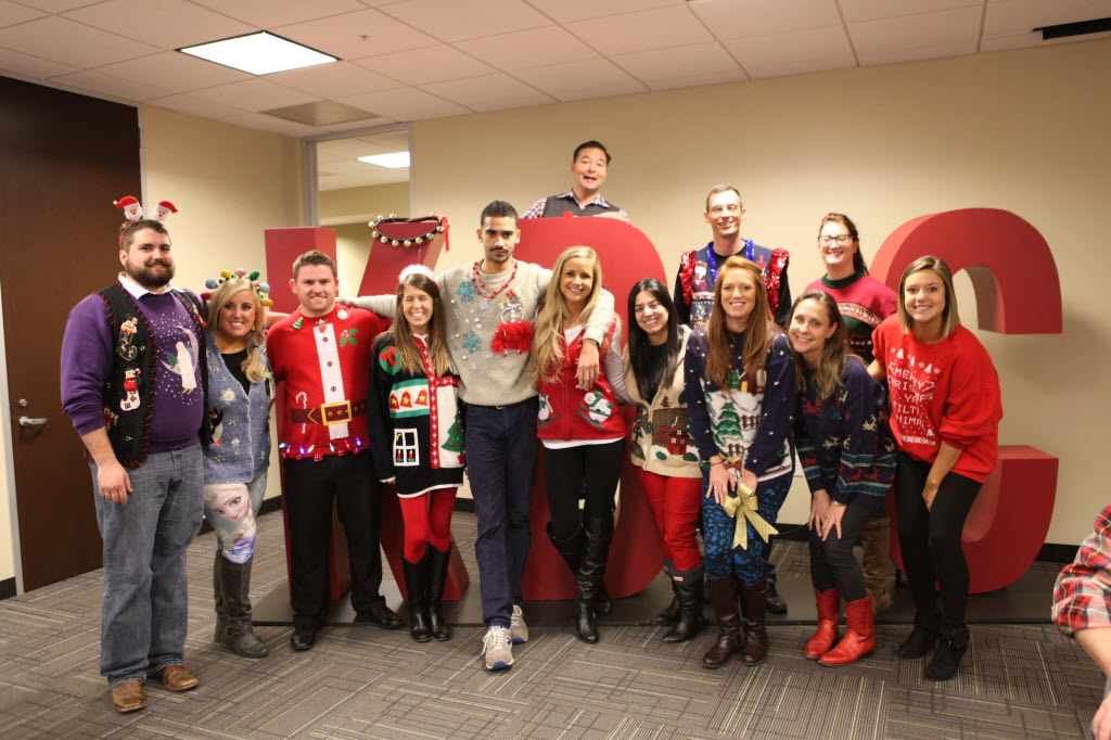 The finalists in Kaye/Bassman's ugly sweater competition show off. (Kaye/Bassman)