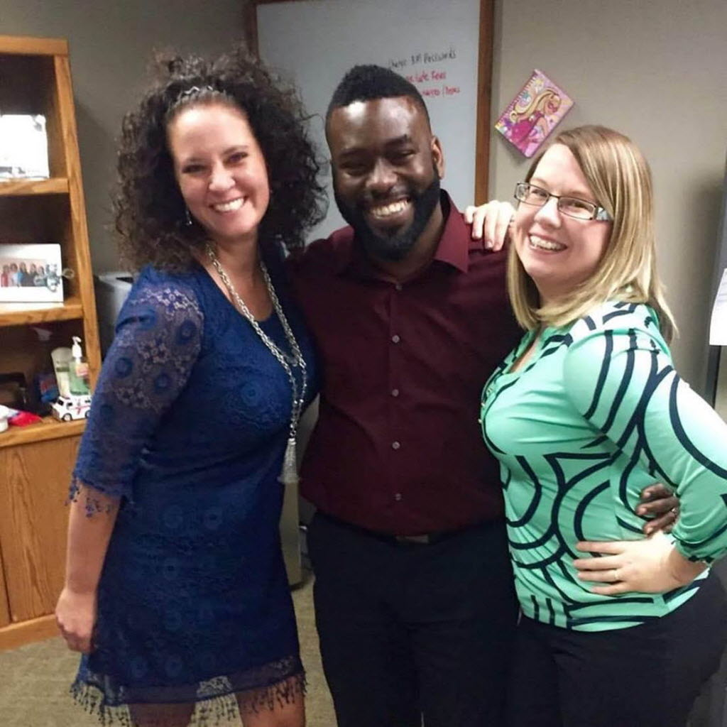 Seneca Jones (center), Milestone Management's newest system support specialist, is shown with Katy Coleman (right), systems support manager, and Julie Newton, systems support specialist, at its corporate office in Dallas. (Milestone Management)