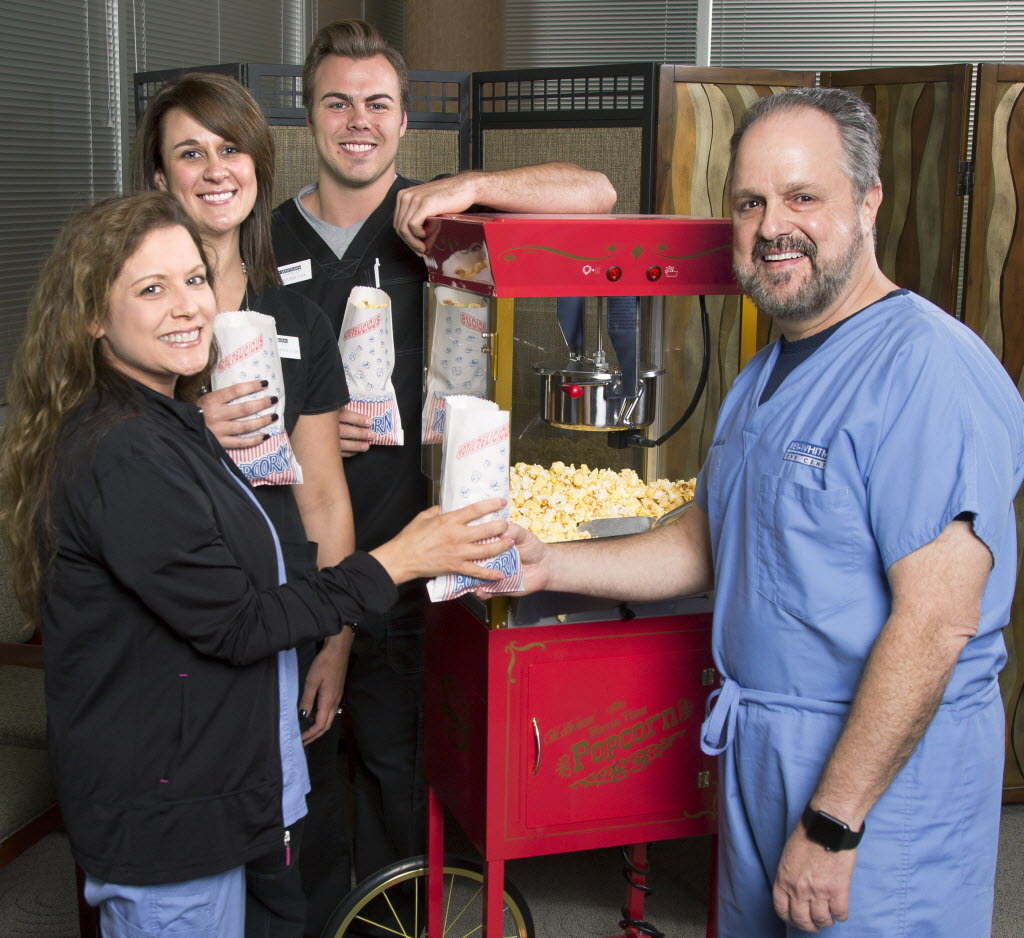 Dr. Jeffrey Whitman of Key-Whitman Eye Center brought a popcorn machine into the office to treat the staff. (Key-Whitman)
