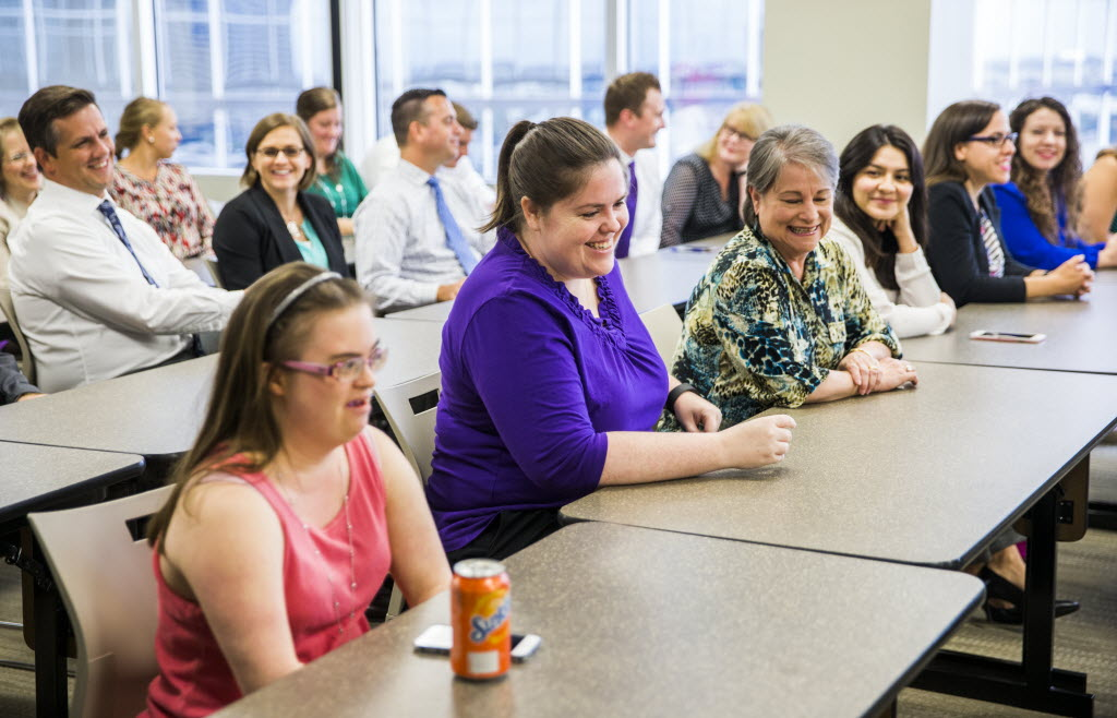 Northwestern Mutual employees meet for a C3 -- connect, communicate, celebrate -- event in August at their office in Dallas. (Ashley Landis/The Dallas Morning News)