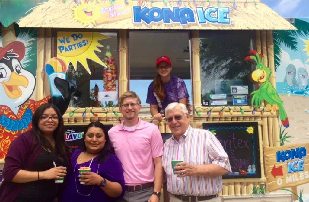 A Kona Ice truck visited all of the Veritex branches on one of the hottest days last summer. (Veritex Community Bank)