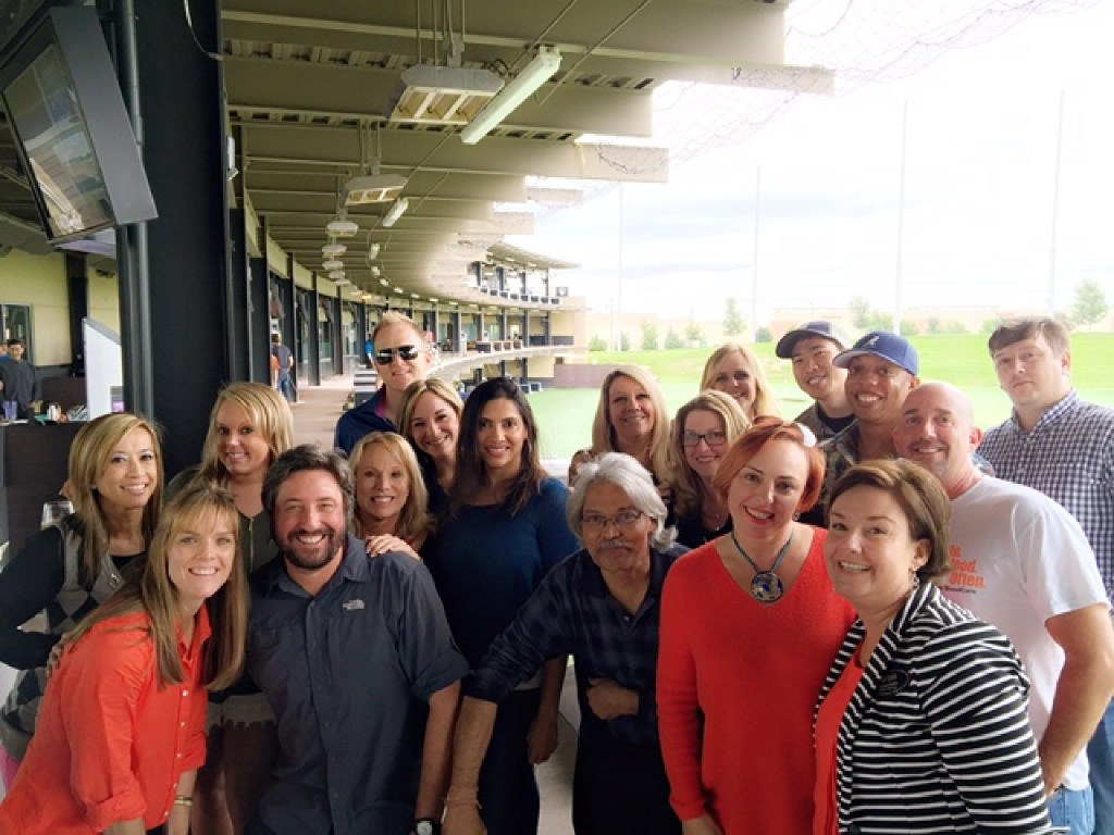 Halo Group workers gathered at Topgolf. (Halo Group)