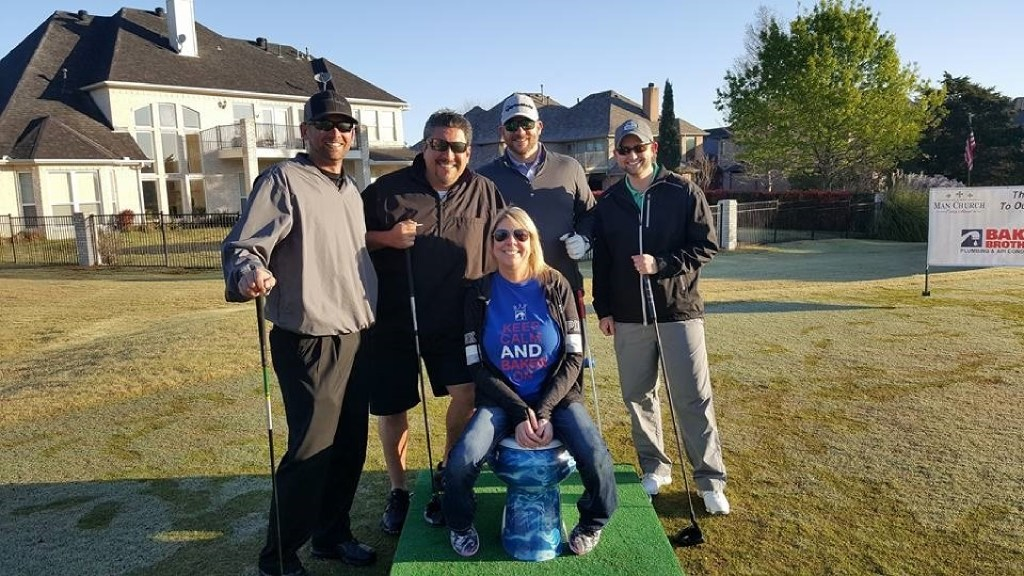 For charity golf tournaments, Baker Brothers Plumbing wraps its logo around a toilet and mounts it on a wooden pedestal with an astroturf covering. Players tee the ball up in front of it and hit the ball while sitting on the seat. In this shot, Tamara Baker of Baker Brothers is flanked by team members from Moore Supply at the Rockwall Man Church Golf Tournament in March at Buffalo Creek Country Club. (Baker Brothers)