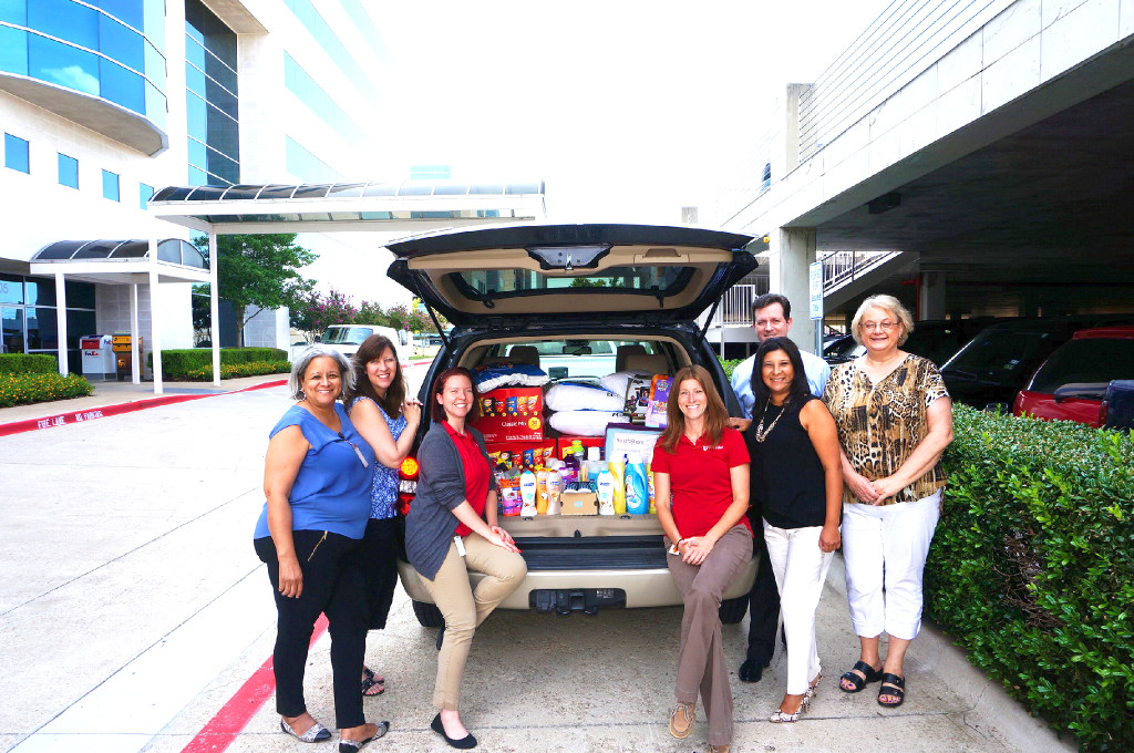 First United Bank's mortgage group contributes to a different charity every other month. Its Christmas in July project benefited the homeless shelter in McKinney, the Samaritan Inn. (First United Bank)