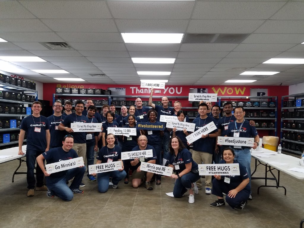 In June, volunteers from Capital One helped with food sorting, inspecting, grocery packing and working on special projects at Minnie s Food Pantry, an organization that serves the hungry in Collin County and the surrounding areas.   (Capital One)