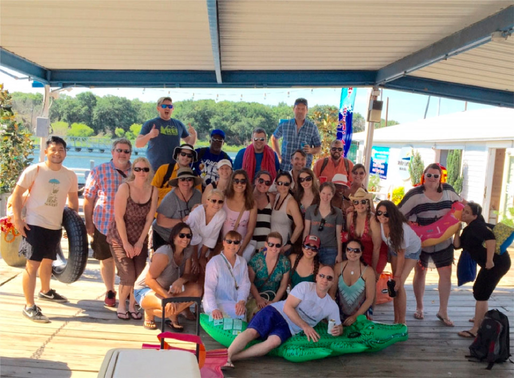 Loomis employees took a group shot before boarding the boat for its annual agency day at Lake Grapevine. (The Loomis Agency)
