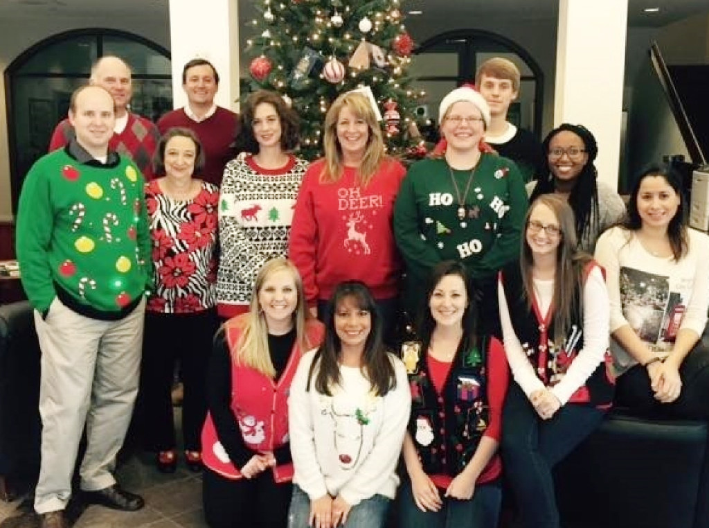 The Plano employees of Benchmark Bank/Private Wealth/Title celebrate the holidays. (Benchmark Bank)