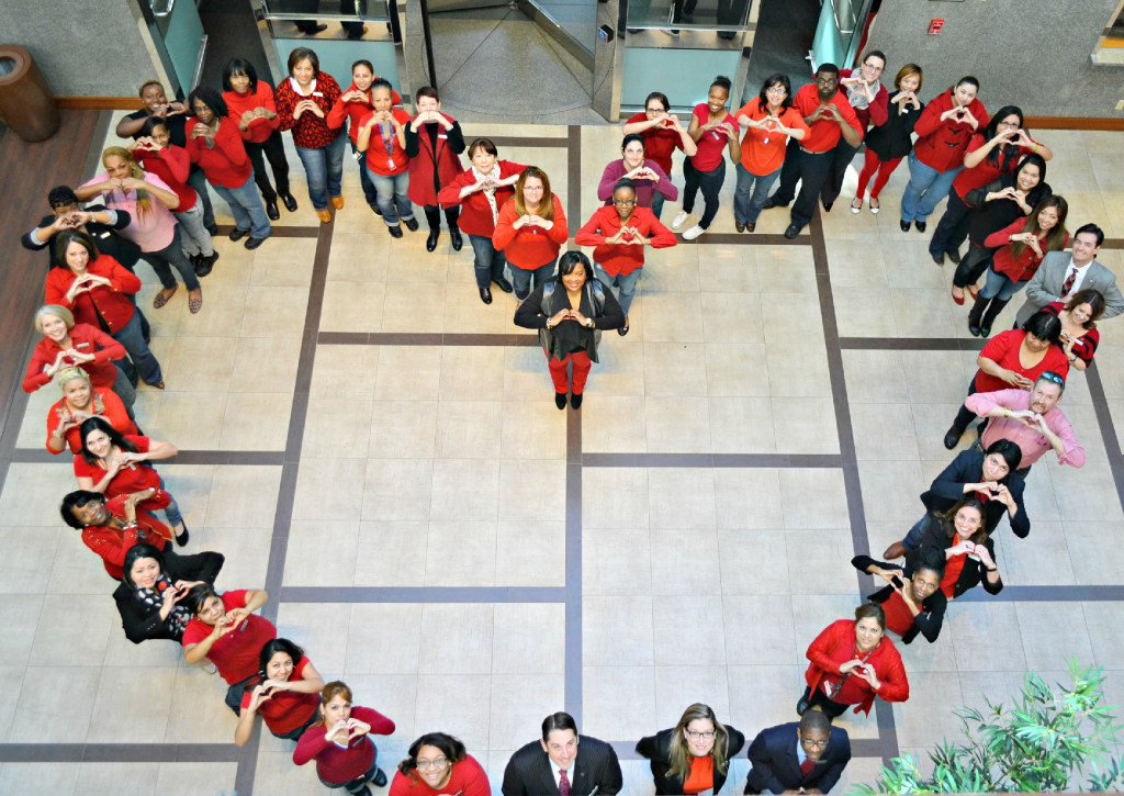 Sheraton Dallas team members wear red to support the American Heart Association and celebrate raising over $500 for Go Red for Women. (Sheraton Dallas)