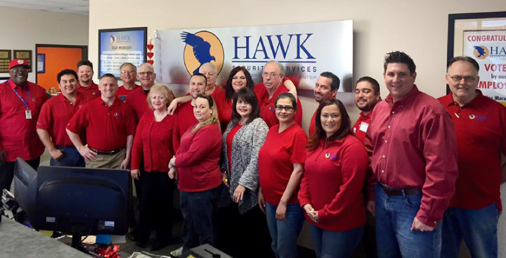 Hawk Security employees in the Fort Worth office wore red for heart health on Go Red for Women day. (Hawk Security)