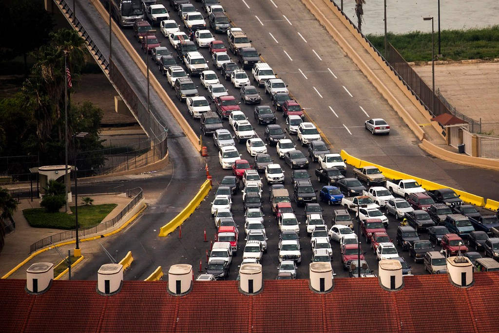 Vehicles wait on the Juarez-Lincoln International Bridge to enter the United States from Mexico on Thursday, May 11, 2017, in Laredo, Texas.